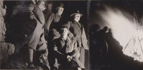 Wintersonnenwende 1932 mit Forstmeister Laupert, Förster O.Resch, Hotelier K.Schneider