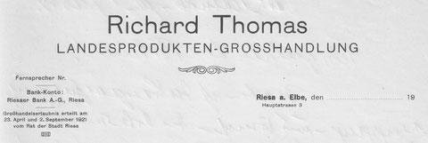 Briefkopf der Firma Thomas