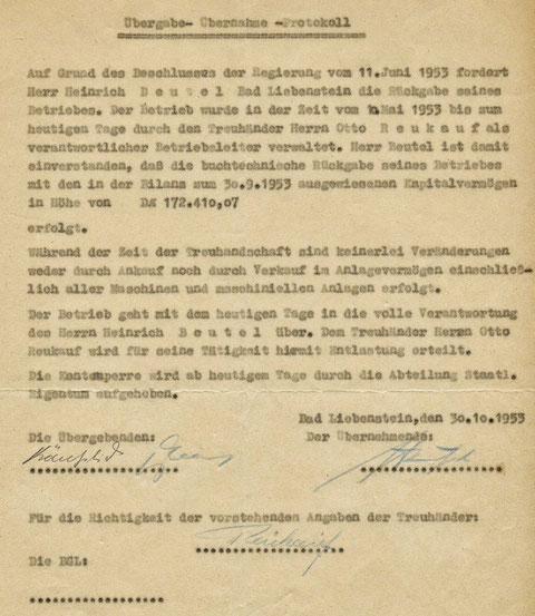 Übergabe- Übernahmeprotokoll vom 30.10.1953