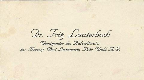 Visitenkarte - Besitz Fritz Lauterbach