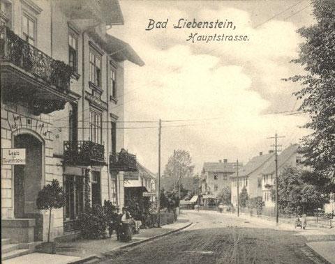 1909 vor dem Meininger Hof, dahinter Haus Gonnermann und Fleischer Erbe, rechts Hofschmiede, Haus Jordan und jetziges Haus Gierth - Archiv W.Malek