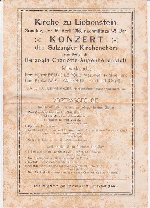 Kirchenkonzert 1916