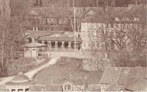 Musikpavillon, Trinkhalle, dahinter Kaltwasserheilanstalt und Marstall - Repro W.Malek (Ausschnitt)