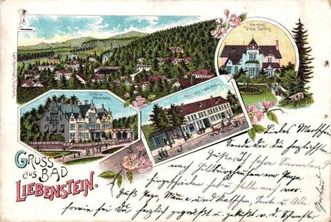 Gruss aus Bad Liebenstein mit Gasthaus zum Goldenen Hirsch von Carl Kaestner Eisenach gelaufen am 23.08.1900