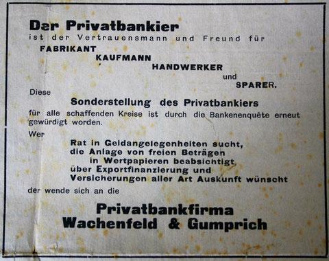 Anzeige im Stammgast vom 23.12.1933