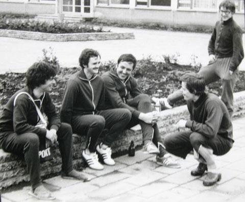 Aufstiegsspiele zur DDR-Liga 1979 in Sömmerda - v.rechts: Heiko Schein, Uwe Schwarz, Dietrich Sauermilch, Karl-Heinz Röthig und Wolfgang Malek