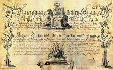 Urkunde des Johann Zacharias Ferrier, Hofgärtner des Herzogs von Sachsen-Hildburghausen 1805 für Georg Zocher und dessen Sohn Daniel Zocher - Quelle Peter Zocher und Klaus Puff