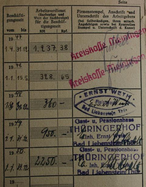 Versichertenausweis Lisa Weih - Sammlung C.Rönsch