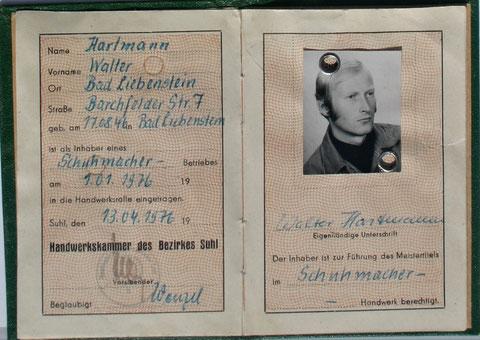 Handwerkerausweis für Walter Hartmann von 1976