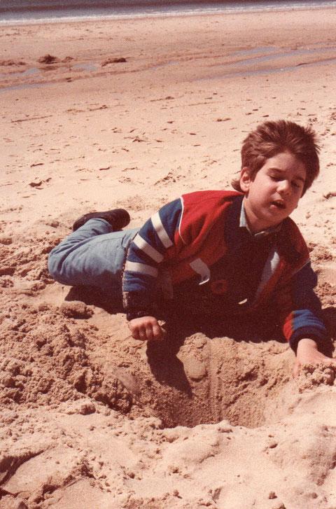 Aterrizaje en la arena.