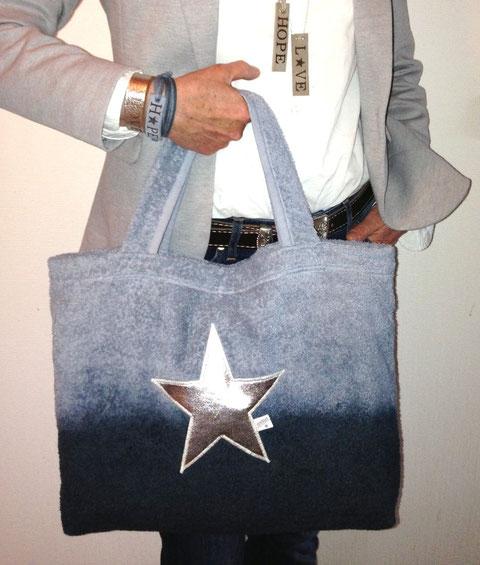 Beach Bag Strandtasche Sonderedition - Strandtasche - Batik grau-silber