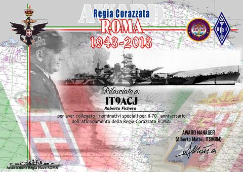 DIPLOMA CORAZZATA ROMA 2013