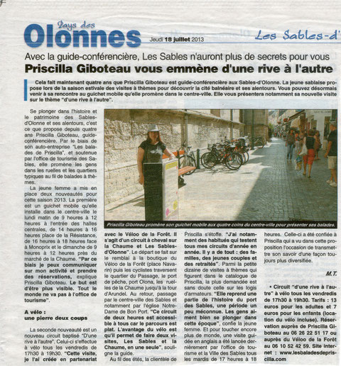Journal des Sables 18 juillet 2013