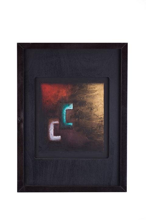 Cena di Emmaus, tecnica mista su tavola lignea, anno 2010, cm 32,5 x 29