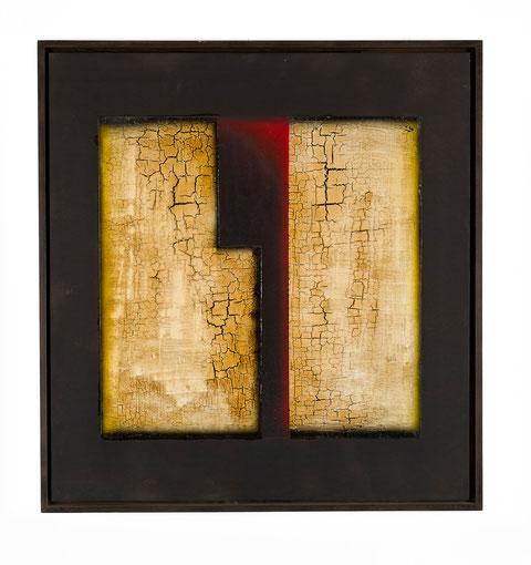 perì physeos y 91 - 2, tecnica mista su tavola lignea, anno 2003, cm 63,5 x 59,5