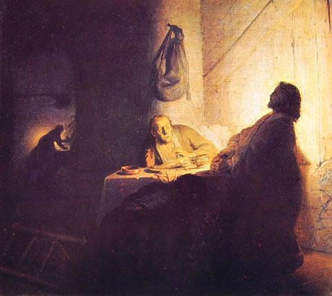 Rembrandt, cena in Emmaus, cm 39 x 42