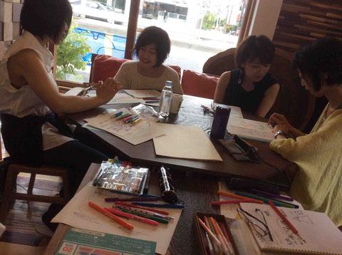 たくさんの色のペンを使って自分の夢をマインドマップに描いていきます