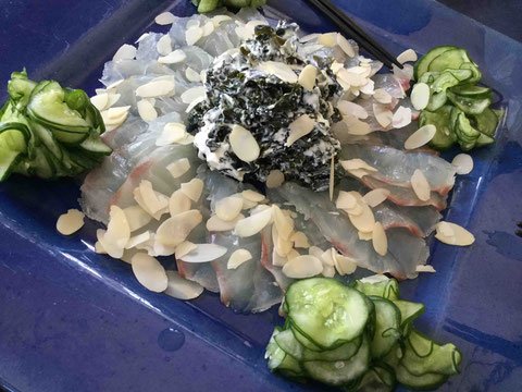 真鯛のカルパッチョはワカメヨーグルトソースで