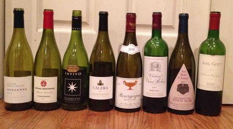 白、赤の代表品種2種をフランスと新世界と各1本、合計8本を試飲!