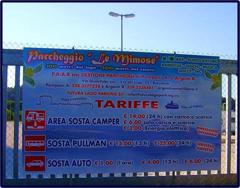 TABELLA TARIFFE PARCHEGGIO.