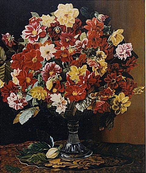 """""""Blumen in Glasvase"""", Ölgemälde von W. Vacano (c)"""