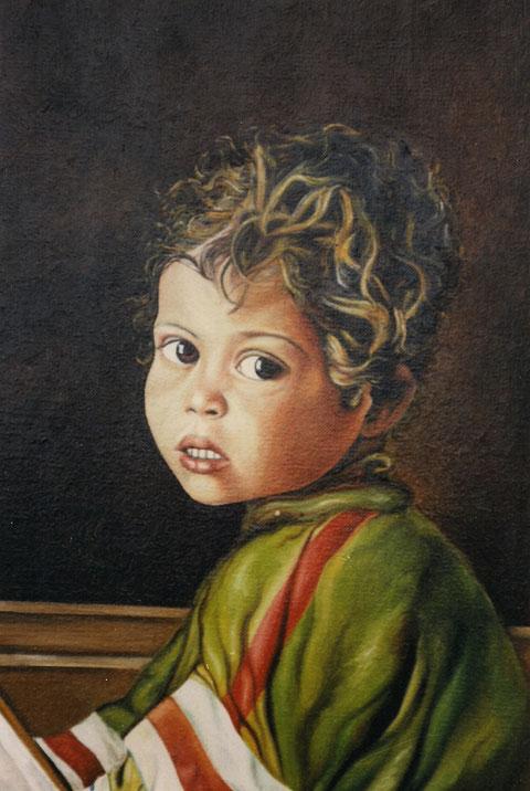 Kind sieht mit großen Augen die Welt, Ölgemälde von W.Vacano (c)