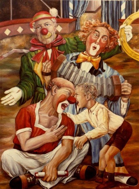 """""""Clowns mit Jungen in der Manege"""", Ölgemälde von W. Vacano (c)"""