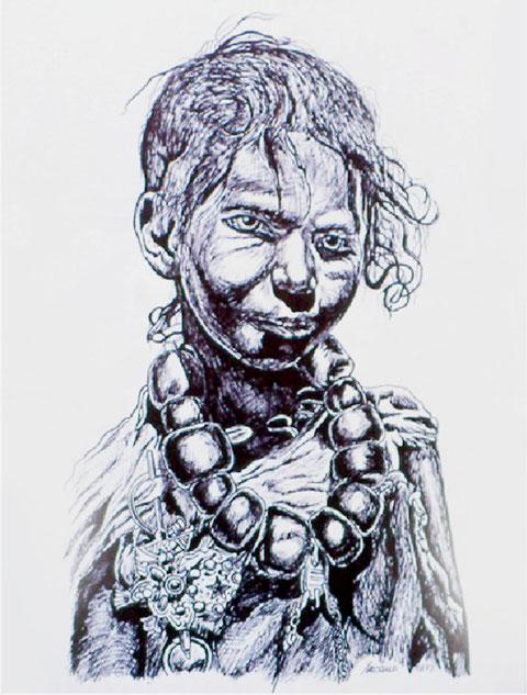 Junge mit Schmuck behängt, von W. Vacano (c)