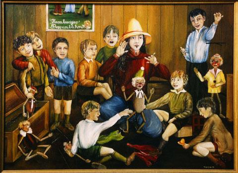 """""""Die Puppenspieler"""", Ölgemälde von W. Vacano (c)"""