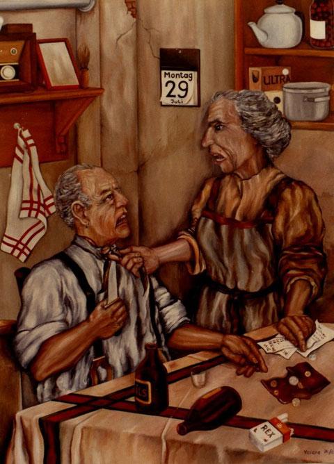 """""""Familienstreit"""", von Ölgemälde von W. Vacano (c)"""