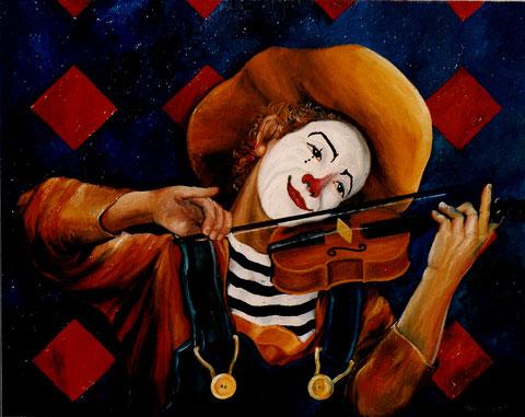 """""""Clown mit Gefühl und Geige"""", Ölgemälde von W. Vacano (c)"""