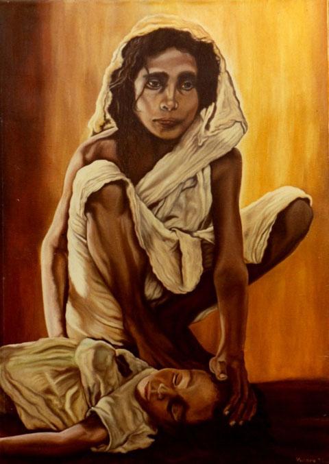 """""""Mutter mit sterbendem Kind"""", Ölgemälde von W. Vacano (c)"""