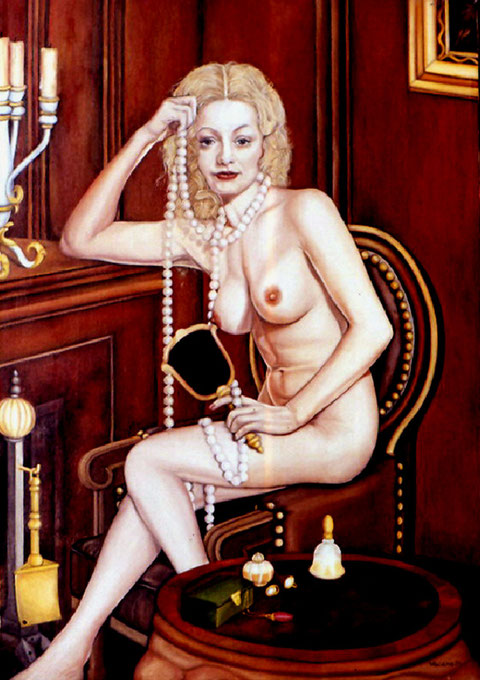 """""""Kühle Blonde"""", Ölgemälde von Wolfgang Vacano (c)"""