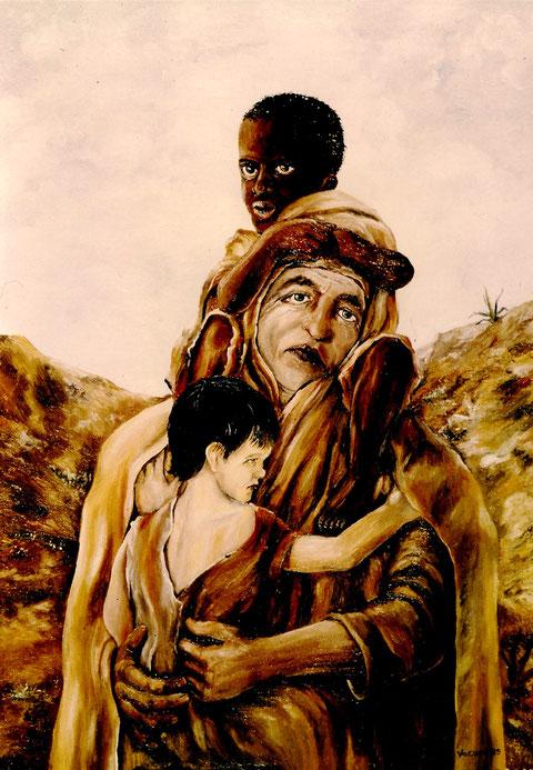 """Kinder der Welt in Not"""", Ölgemälde von W. Vacano (c)"""