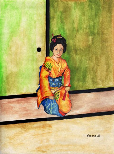 """Geisha"", ein Aquarell von Wolfgang Vacano (c)"