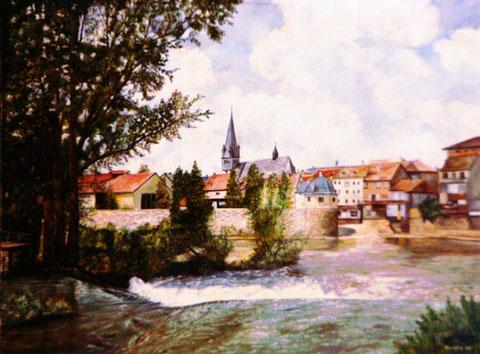 """""""Stadtlandschaft am Fluss"""". Ölgemälde von W. Vacano (c)"""