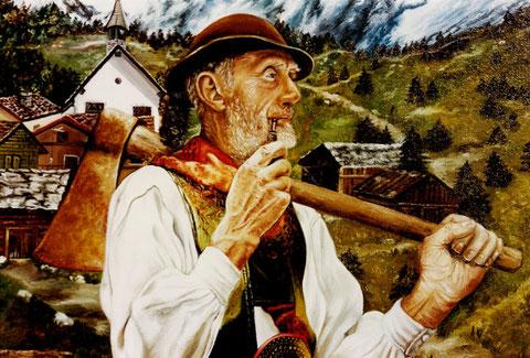 """""""Bauer auf der Alm"""", Ölgemälde von W. Vacano (c)"""