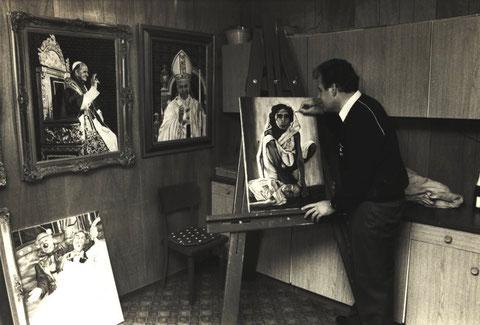 Wolfgang Vacano in seinem Atelier - um 1982, Foto: Georg Pakschieß, Altonaer Nachrichten (c)