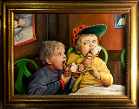 """""""Die Eisesser"""", Ölgemälde von W. Vacano (c)"""