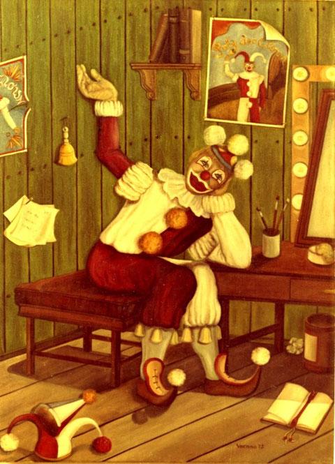 """""""Clown in der Garderobe"""", Ölgemälde von W. Vacano (c)"""