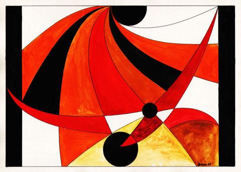 """""""Rapsodie in Rot"""", Glasfensterentwurf von W. Vacano (c)"""