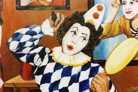 """""""Clown mit Spiegel"""", Ölgemälde-Ausschnitt von W. Vacano (c)"""