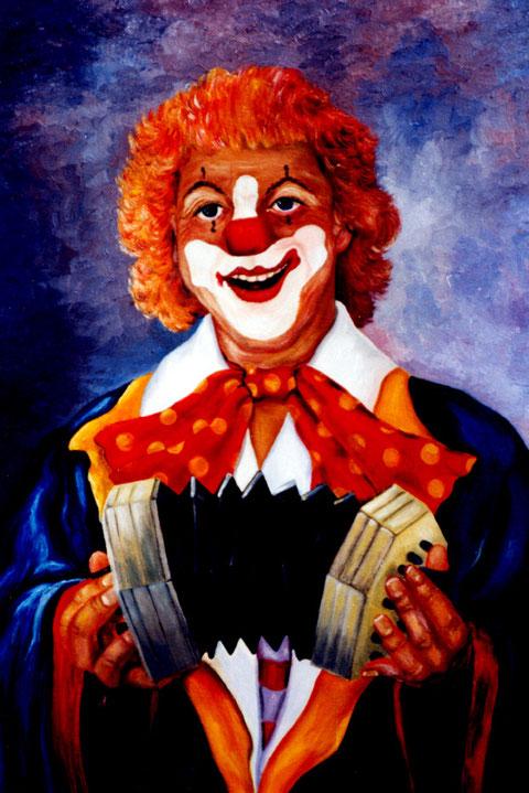 """""""Clown mit Harmonika"""", Ölgmälde von W. Vacano (c)"""
