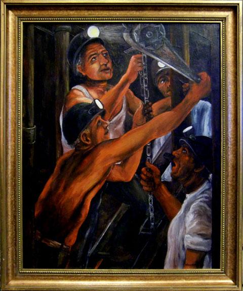 """""""Arbeit unter Tage"""", Ölgemälde von W. Vacano (c)"""