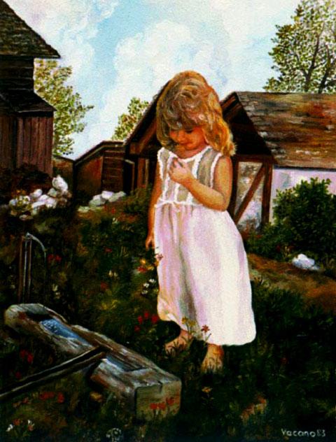 """""""Mädchen mit Blume"""", Ölgemälde von W. Vacano (c)"""