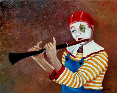 """""""Clown mit Querflöte"""", Ölgemälde von W. Vacano (c)"""