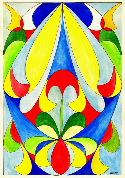 """""""Farben in Harmonie und Glas"""", Glasfensterentwurf von W. Vacano (c)"""