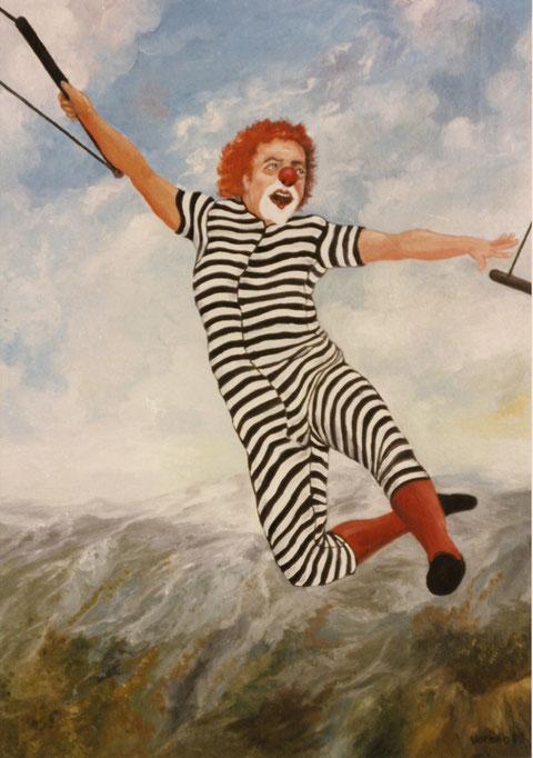 """""""Clown am Himmelstrapez"""", Ölgemälde von W. Vacano (c)"""