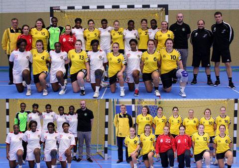 """(en bas à gauche) L'équipe nationale de GUINÉE / (en bas à droite) Les DAMES du """"HB Péiteng"""""""
