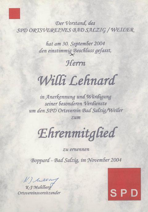 Ehrenmitglied Willi Lehnard